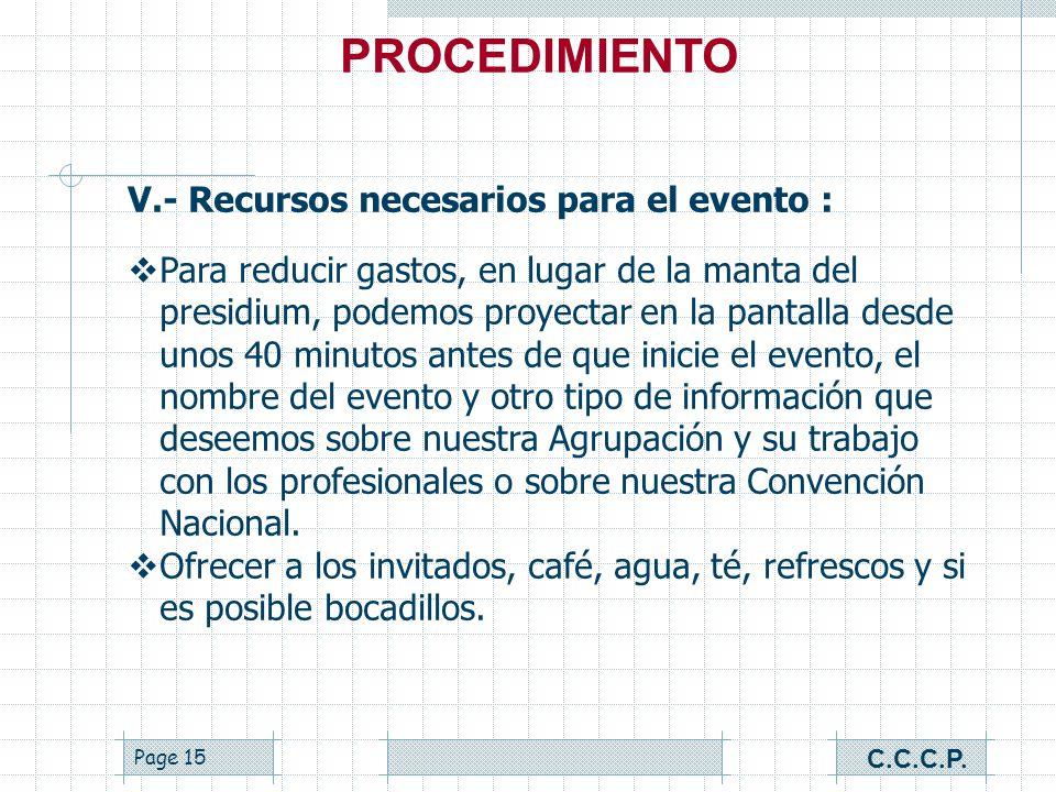 Page 14 V.- Recursos necesarios para el evento : Pantalla de proyección para la presentación. Computadora. CD con la presentación. Proyector (cañón).