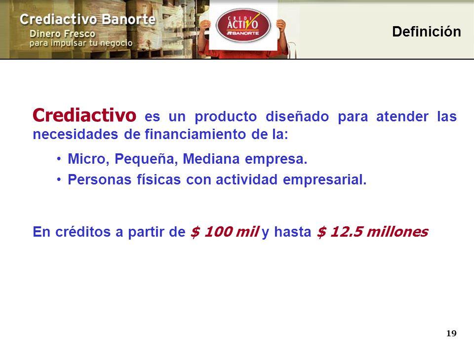 19 Crediactivo es un producto diseñado para atender las necesidades de financiamiento de la: Micro, Pequeña, Mediana empresa.