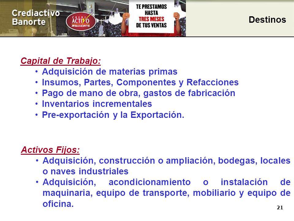 21 Capital de Trabajo: Adquisición de materias primas Insumos, Partes, Componentes y Refacciones Pago de mano de obra, gastos de fabricación Inventarios incrementales Pre-exportación y la Exportación.