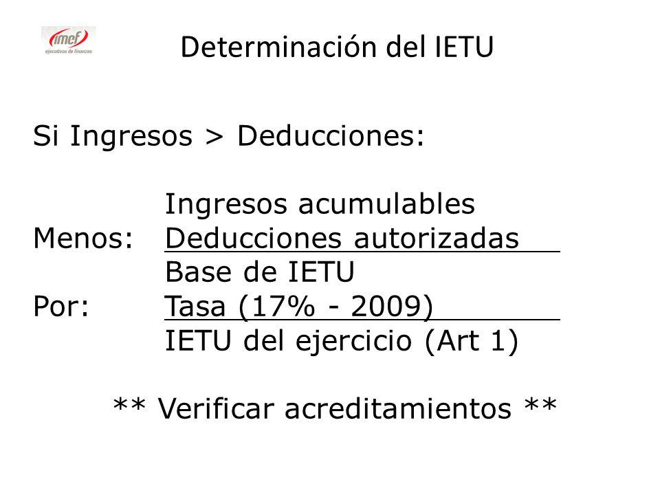 Determinación del IETU Si Ingresos > Deducciones: Ingresos acumulables Menos:Deducciones autorizadas Base de IETU Por:Tasa (17% - 2009) IETU del ejerc