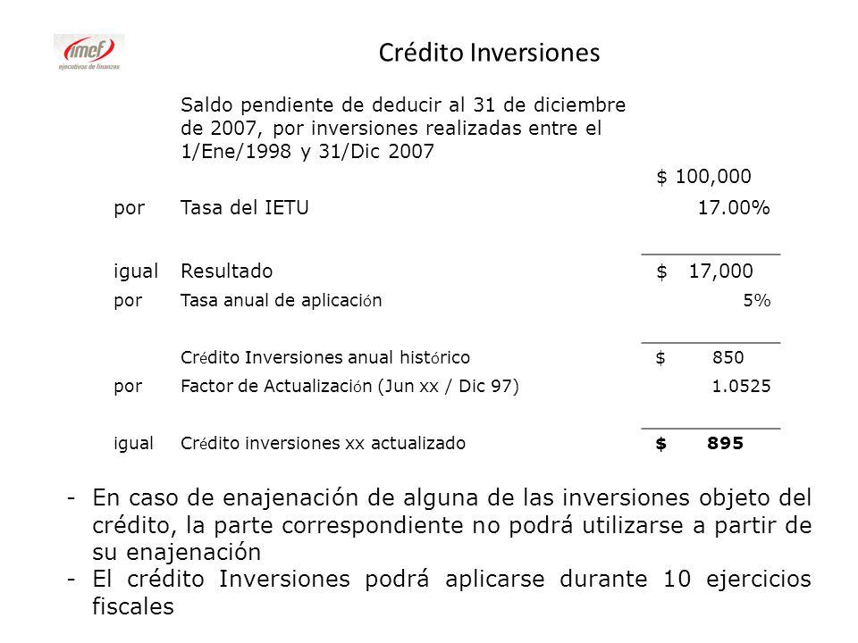 Crédito Inversiones -En caso de enajenación de alguna de las inversiones objeto del crédito, la parte correspondiente no podrá utilizarse a partir de
