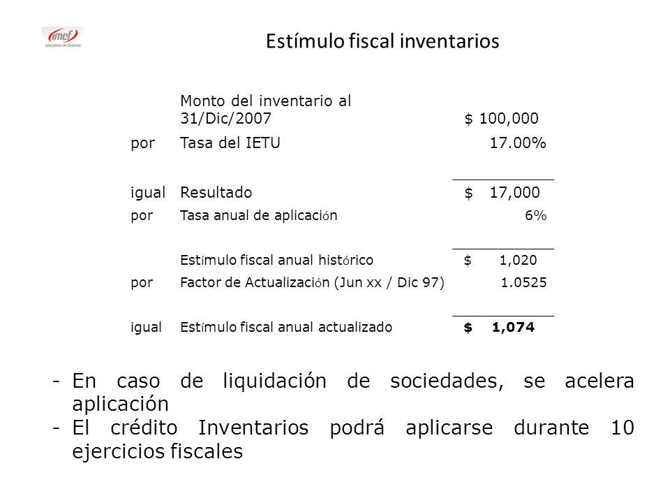 Estímulo fiscal inventarios -En caso de liquidación de sociedades, se acelera aplicación -El crédito Inventarios podrá aplicarse durante 10 ejercicios