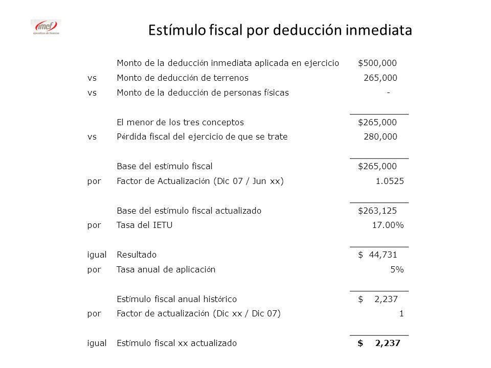 Estímulo fiscal por deducción inmediata Monto de la deducci ó n inmediata aplicada en ejercicio $500,000 vs Monto de deducci ó n de terrenos 265,000 v
