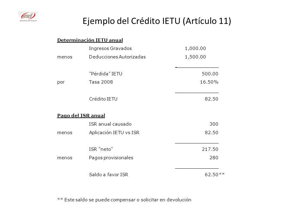 Determinación IETU anual Ingresos Gravados 1,000.00 menosDeducciones Autorizadas 1,500.00