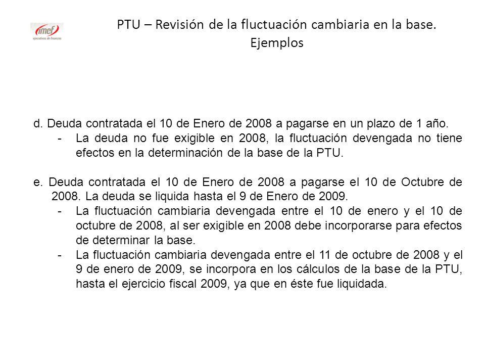 PTU – Revisión de la fluctuación cambiaria en la base. Ejemplos d. Deuda contratada el 10 de Enero de 2008 a pagarse en un plazo de 1 año. -La deuda n
