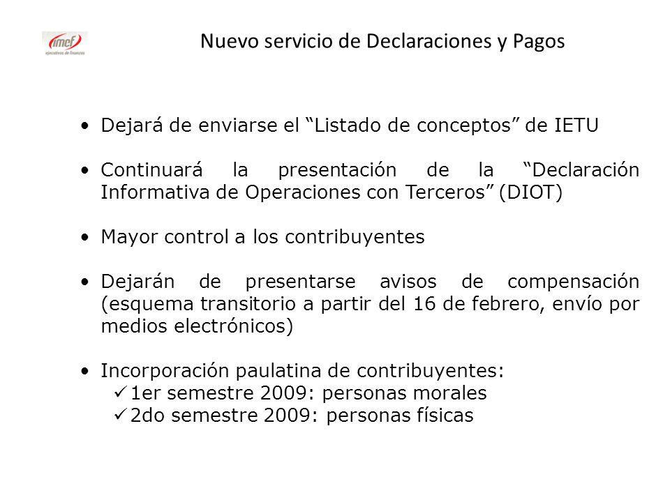 Nuevo servicio de Declaraciones y Pagos Dejará de enviarse el Listado de conceptos de IETU Continuará la presentación de la Declaración Informativa de