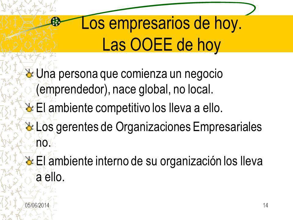 Los empresarios de hoy. Las OOEE de hoy Una persona que comienza un negocio (emprendedor), nace global, no local. El ambiente competitivo los lleva a