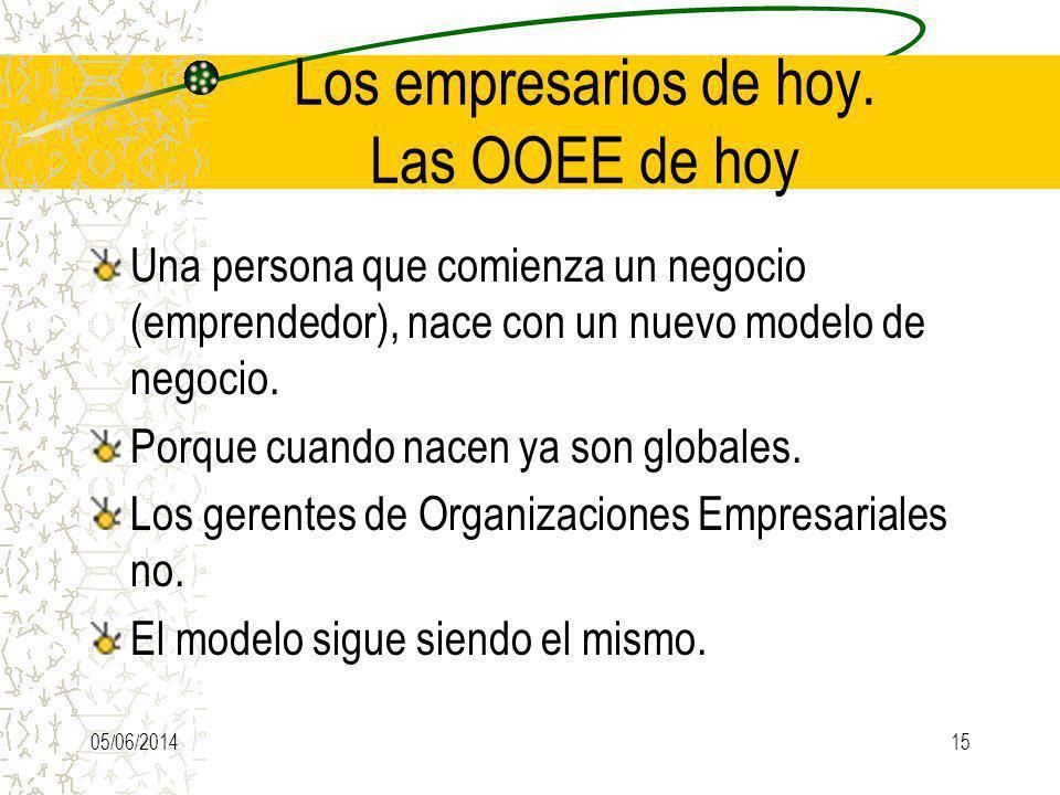 Los empresarios de hoy. Las OOEE de hoy Una persona que comienza un negocio (emprendedor), nace con un nuevo modelo de negocio. Porque cuando nacen ya