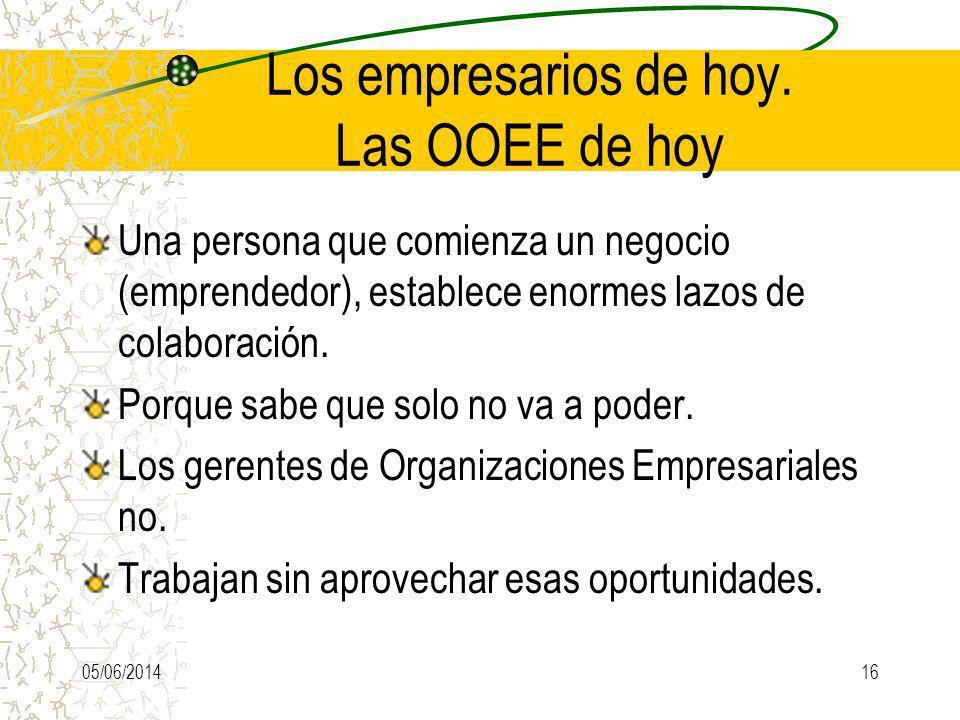 Los empresarios de hoy. Las OOEE de hoy Una persona que comienza un negocio (emprendedor), establece enormes lazos de colaboración. Porque sabe que so