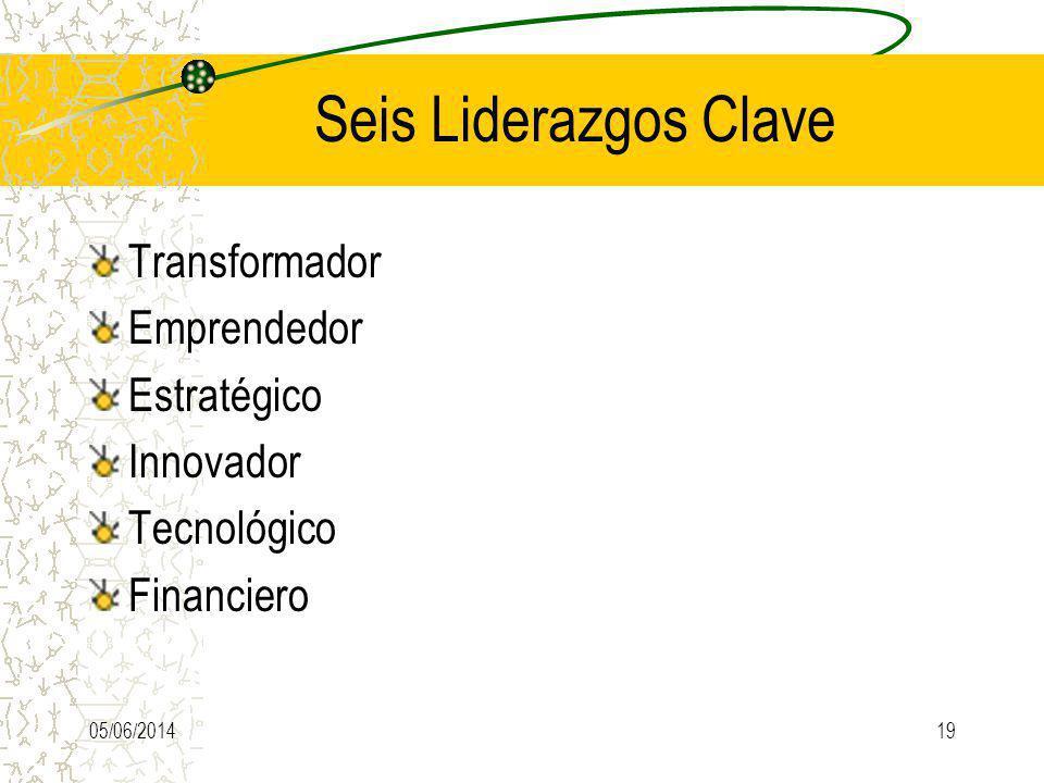 Seis Liderazgos Clave Transformador Emprendedor Estratégico Innovador Tecnológico Financiero 05/06/201419