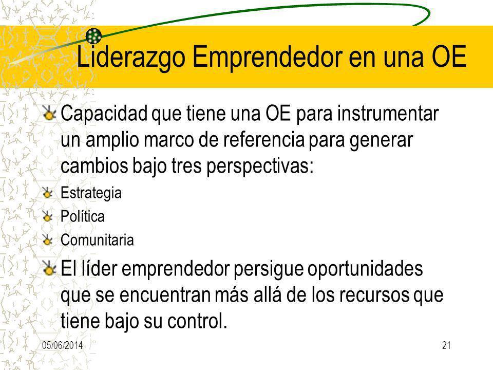 Liderazgo Emprendedor en una OE Capacidad que tiene una OE para instrumentar un amplio marco de referencia para generar cambios bajo tres perspectivas