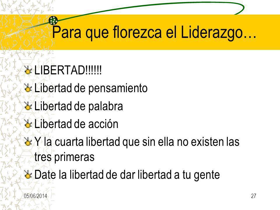 Para que florezca el Liderazgo… LIBERTAD!!!!!! Libertad de pensamiento Libertad de palabra Libertad de acción Y la cuarta libertad que sin ella no exi