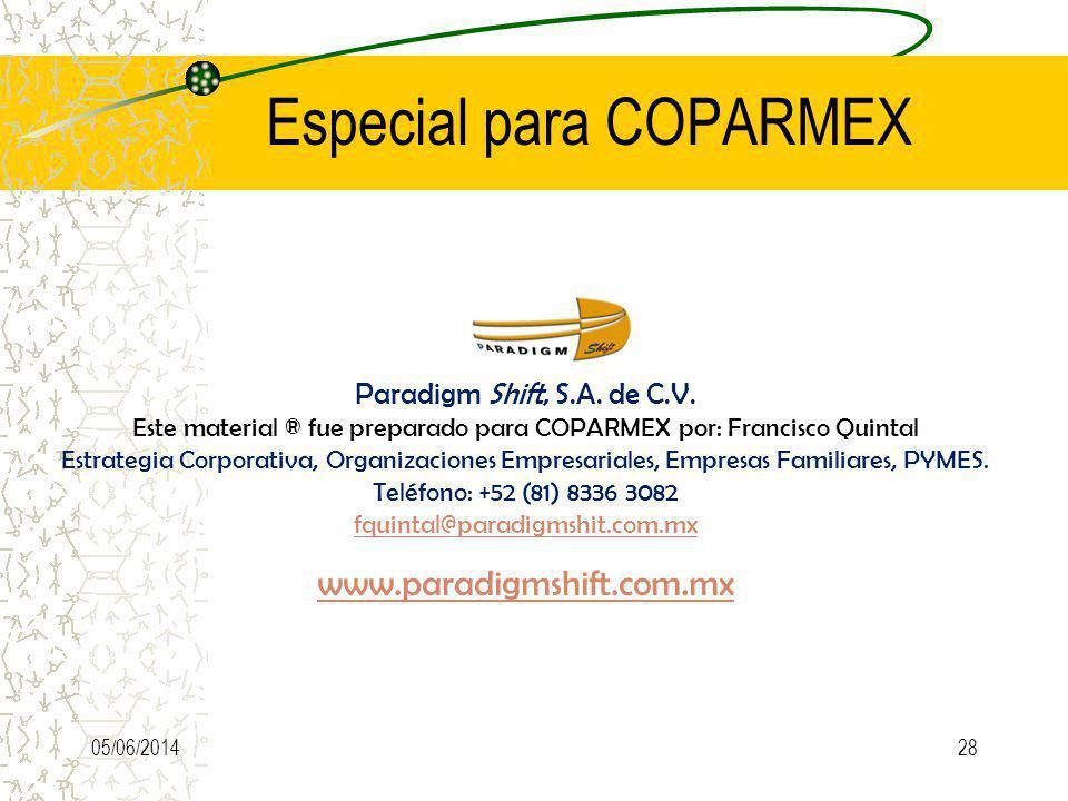 Especial para COPARMEX 05/06/2014 Paradigm Shift, S.A. de C.V. Este material ® fue preparado para COPARMEX por: Francisco Quintal Estrategia Corporati