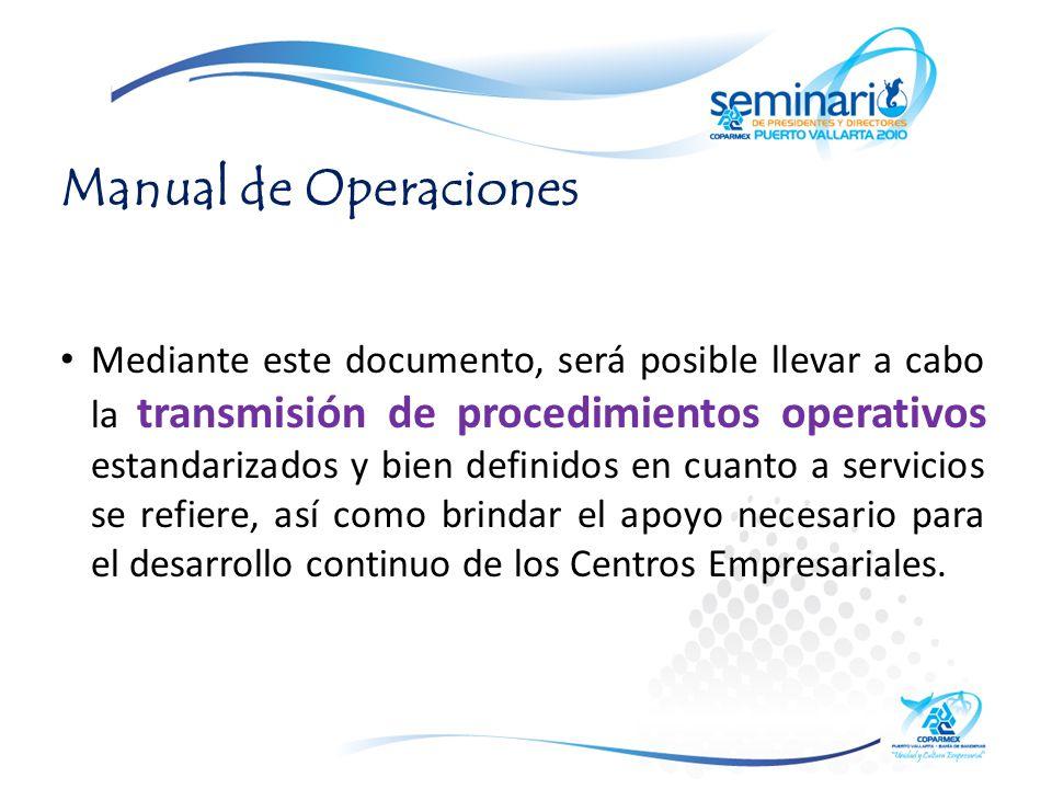 Manual de Operaciones Mediante este documento, será posible llevar a cabo la transmisión de procedimientos operativos estandarizados y bien definidos en cuanto a servicios se refiere, así como brindar el apoyo necesario para el desarrollo continuo de los Centros Empresariales.