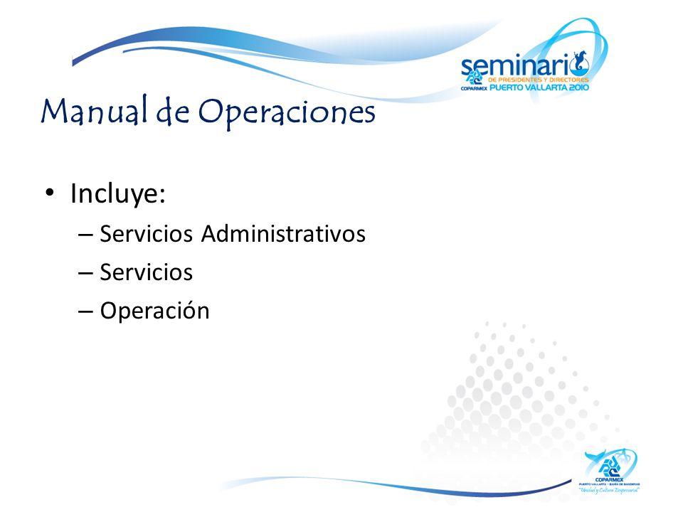 Manual de Operaciones Incluye: – Servicios Administrativos – Servicios – Operación