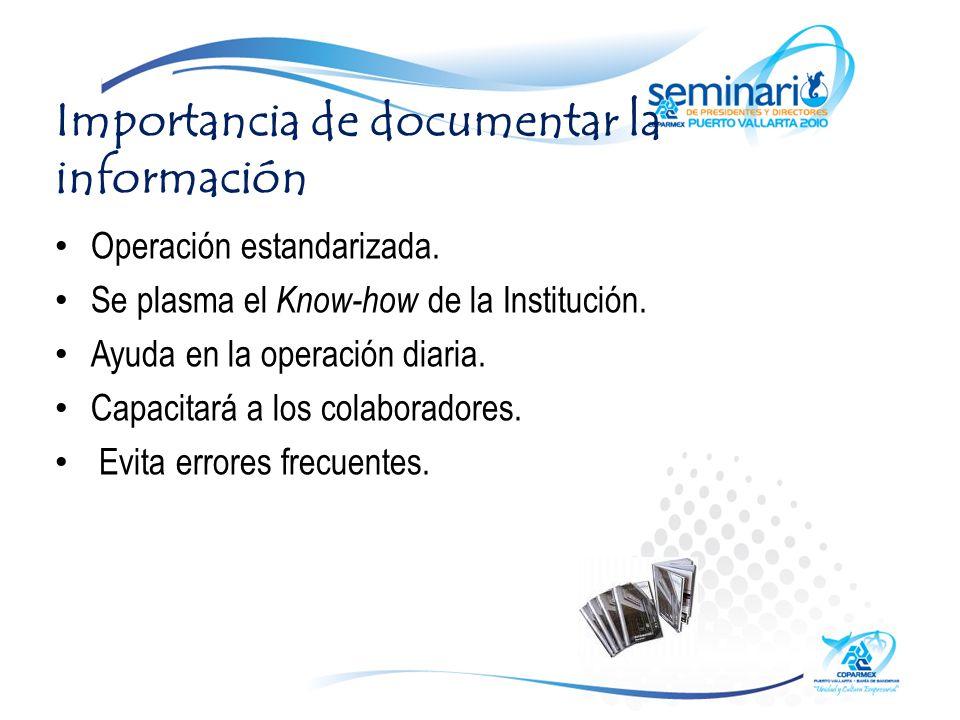 Importancia de documentar la información Operación estandarizada.