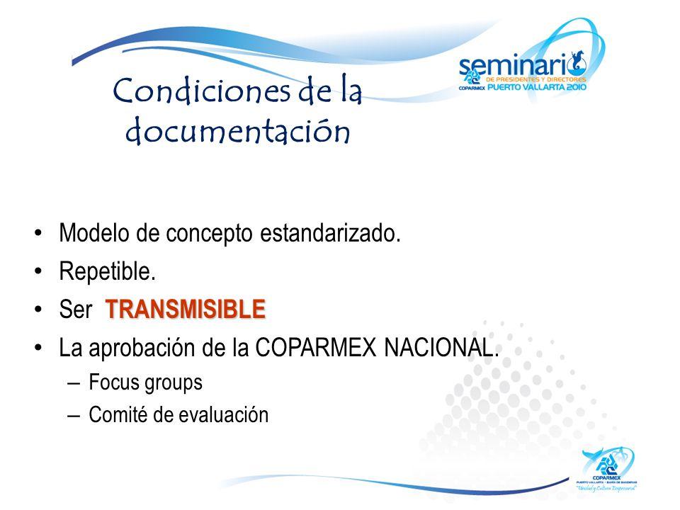 Condiciones de la documentación Modelo de concepto estandarizado.