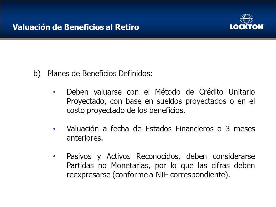 b)Planes de Beneficios Definidos: Deben valuarse con el Método de Crédito Unitario Proyectado, con base en sueldos proyectados o en el costo proyectado de los beneficios.