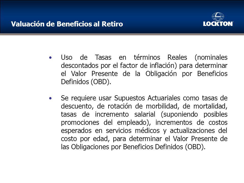 Uso de Tasas en términos Reales (nominales descontados por el factor de inflación) para determinar el Valor Presente de la Obligación por Beneficios Definidos (OBD).