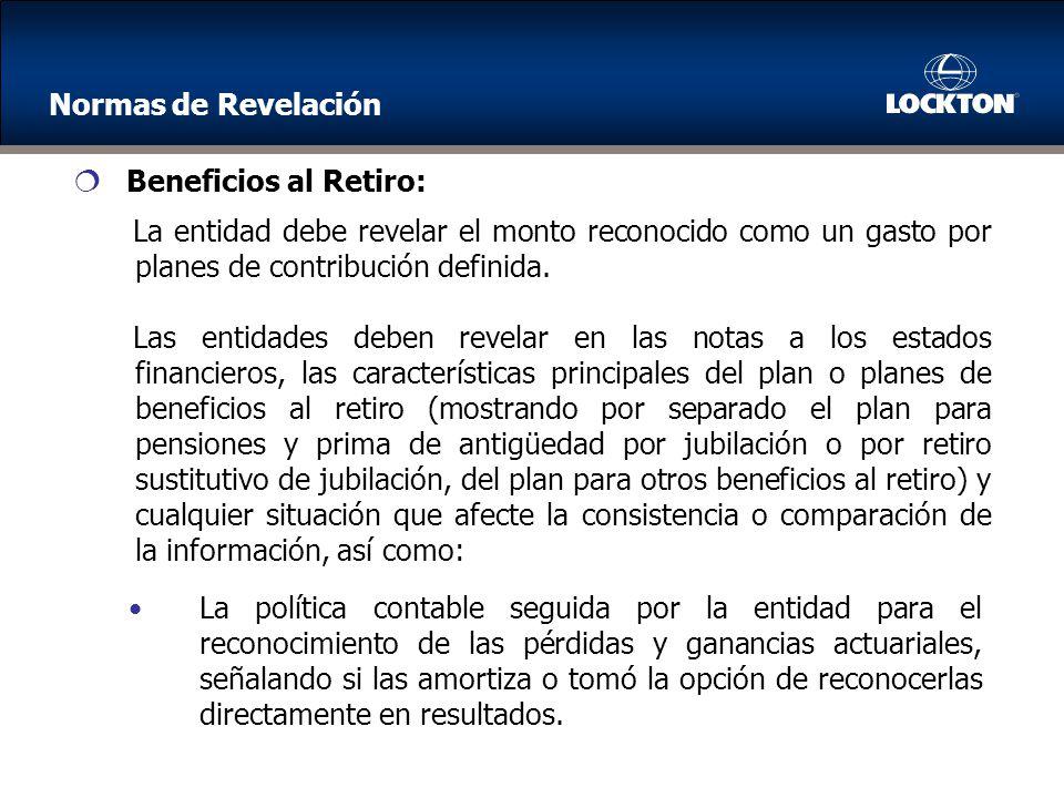 La entidad debe revelar el monto reconocido como un gasto por planes de contribución definida.