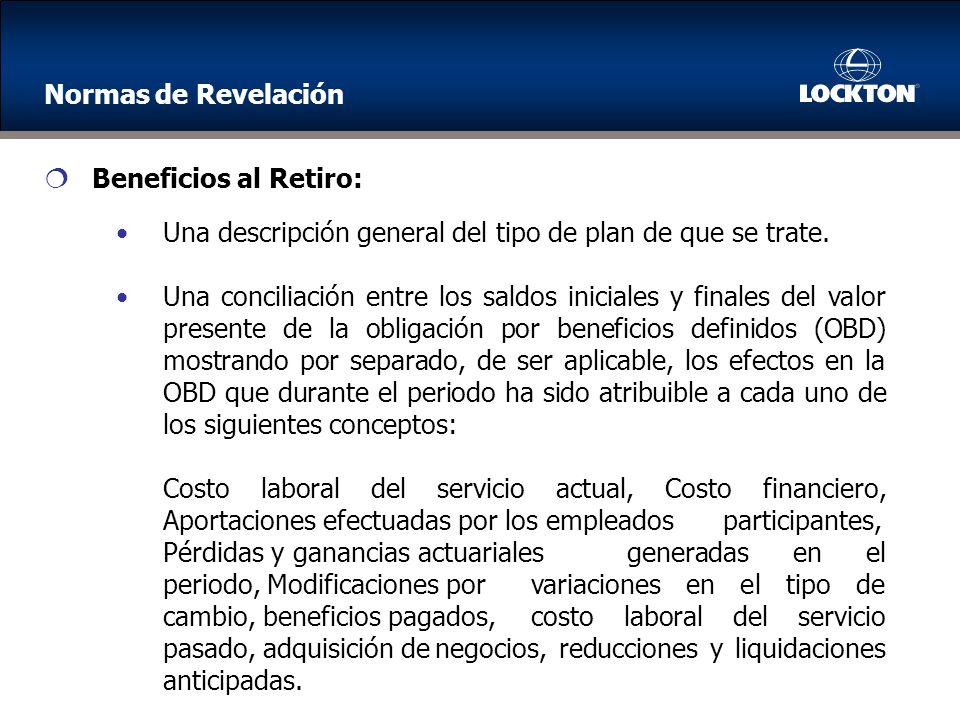 Beneficios al Retiro: Una descripción general del tipo de plan de que se trate.
