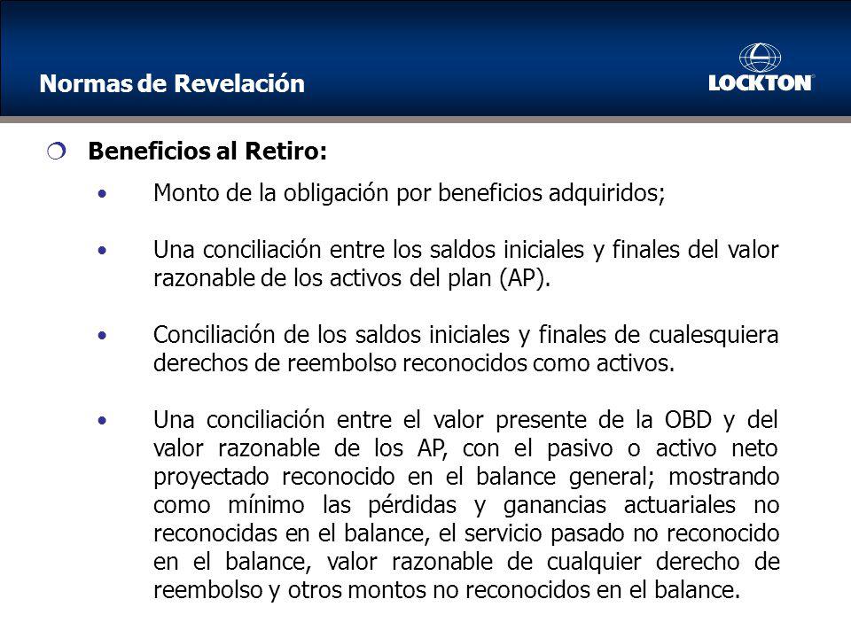 Monto de la obligación por beneficios adquiridos; Una conciliación entre los saldos iniciales y finales del valor razonable de los activos del plan (AP).