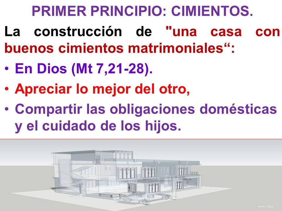 PRIMER PRINCIPIO: CIMIENTOS. La construcción de
