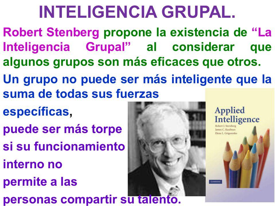 INTELIGENCIA GRUPAL. Robert Stenberg propone la existencia de La Inteligencia Grupal al considerar que algunos grupos son más eficaces que otros. Un g