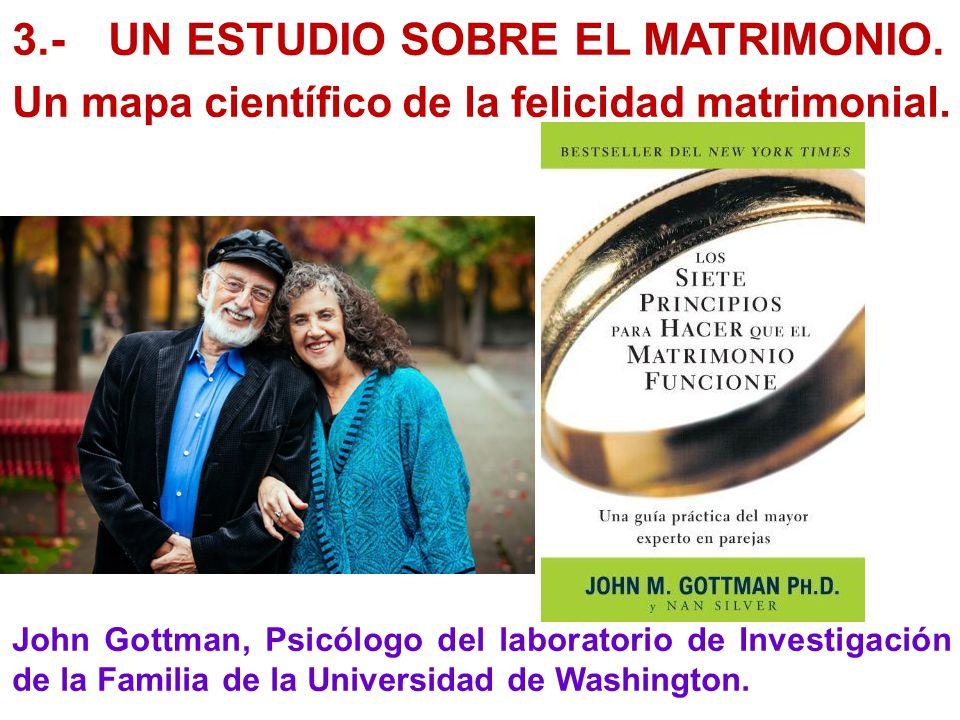 3.-UN ESTUDIO SOBRE EL MATRIMONIO. Un mapa científico de la felicidad matrimonial. John Gottman, Psicólogo del laboratorio de Investigación de la Fami