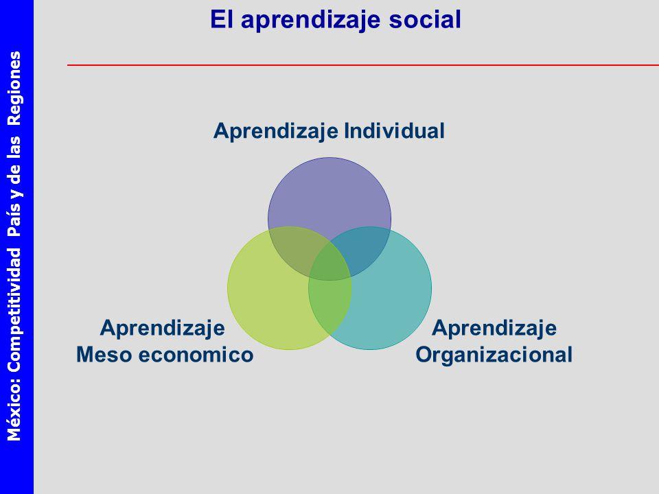 México: Competitividad País y de las Regiones El aprendizaje social Aprendizaje Individual Aprendizaje Organizacional Aprendizaje Meso economico