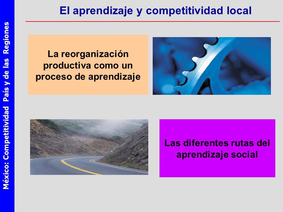 México: Competitividad País y de las Regiones El aprendizaje y competitividad local La reorganización productiva como un proceso de aprendizaje Las diferentes rutas del aprendizaje social