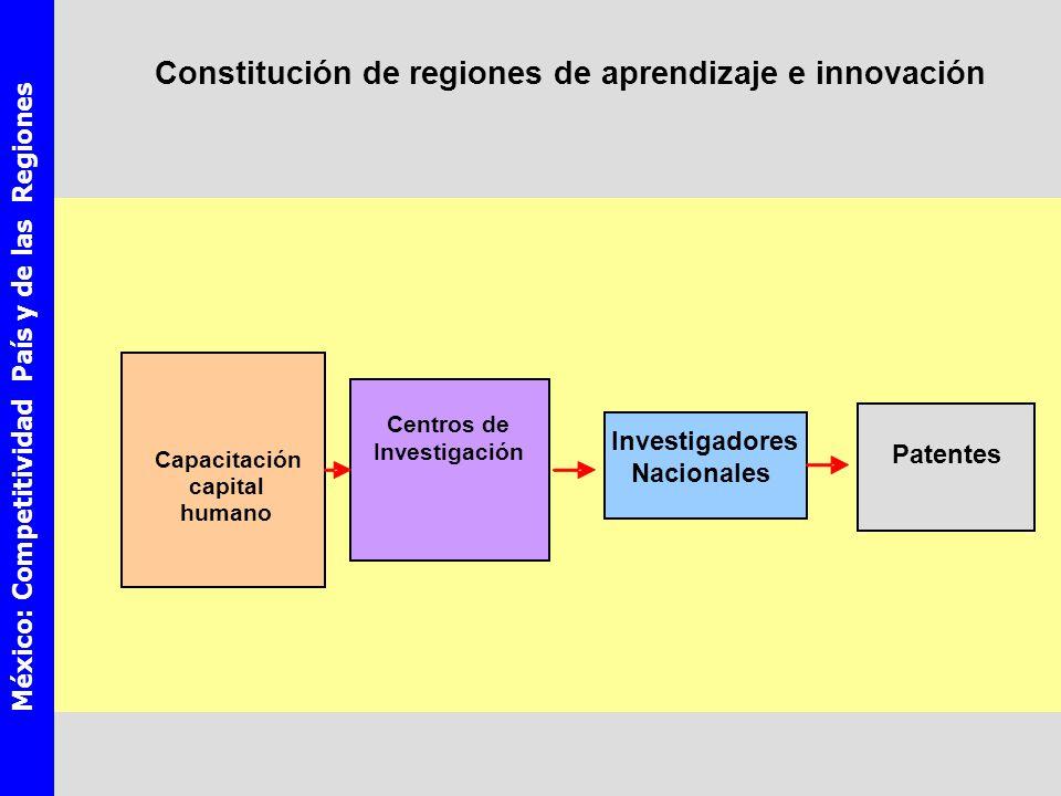 México: Competitividad País y de las Regiones Capacitación capital humano Investigadores Nacionales Patentes Centros de Investigación Constitución de regiones de aprendizaje e innovación