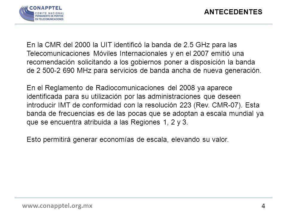 En la CMR del 2000 la UIT identificó la banda de 2.5 GHz para las Telecomunicaciones Móviles Internacionales y en el 2007 emitió una recomendación solicitando a los gobiernos poner a disposición la banda de 2 500-2 690 MHz para servicios de banda ancha de nueva generación.