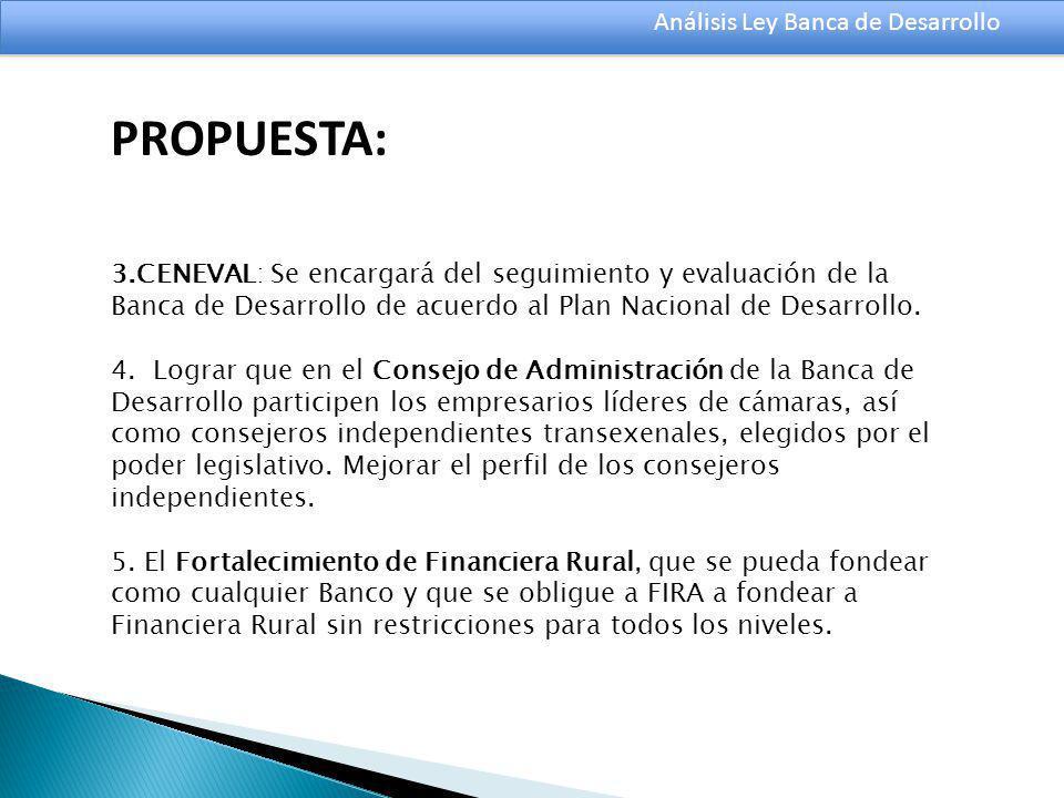Análisis Ley Banca de Desarrollo 3.CENEVAL: Se encargará del seguimiento y evaluación de la Banca de Desarrollo de acuerdo al Plan Nacional de Desarrollo.