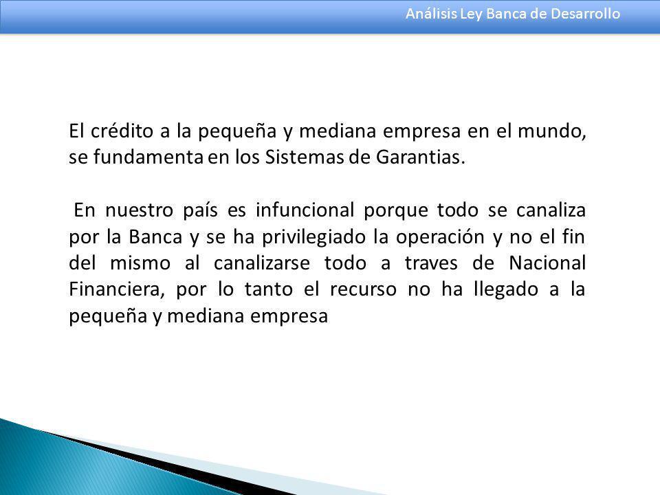 Análisis Ley Banca de Desarrollo El crédito a la pequeña y mediana empresa en el mundo, se fundamenta en los Sistemas de Garantias.