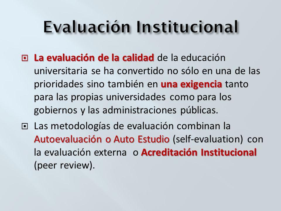 La evaluación de la calidad una exigencia La evaluación de la calidad de la educación universitaria se ha convertido no sólo en una de las prioridades sino también en una exigencia tanto para las propias universidades como para los gobiernos y las administraciones públicas.