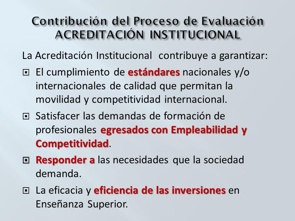 La Acreditación Institucional contribuye a garantizar: estándares El cumplimiento de estándares nacionales y/o internacionales de calidad que permitan la movilidad y competitividad internacional.