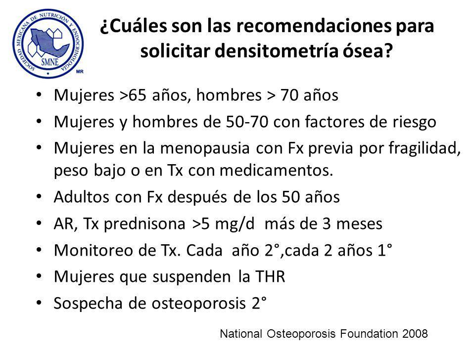 ¿Cuáles son las recomendaciones para solicitar densitometría ósea? Mujeres >65 años, hombres > 70 años Mujeres y hombres de 50-70 con factores de ries