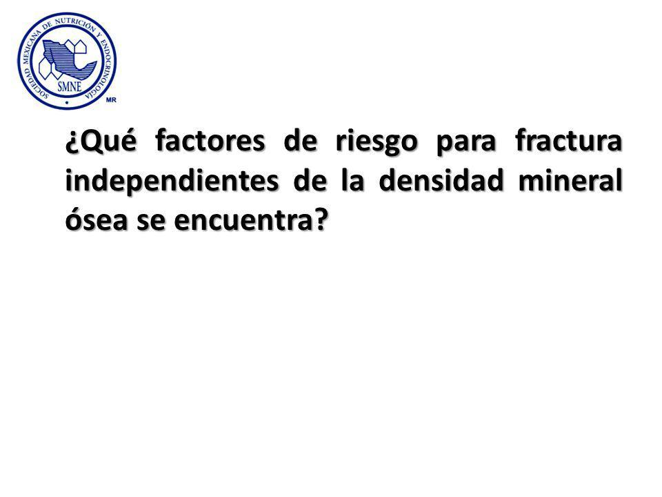 ¿Qué factores de riesgo para fractura independientes de la densidad mineral ósea se encuentra?