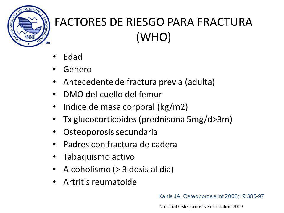 FACTORES DE RIESGO PARA FRACTURA (WHO) Edad Género Antecedente de fractura previa (adulta) DMO del cuello del femur Indice de masa corporal (kg/m2) Tx