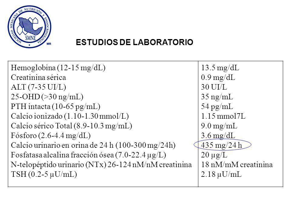 Hemoglobina (12-15 mg/dL) Creatinina sérica ALT (7-35 UI/L) 25-OHD (>30 ng/mL) PTH intacta (10-65 pg/mL) Calcio ionizado (1.10-1.30 mmol/L) Calcio sér