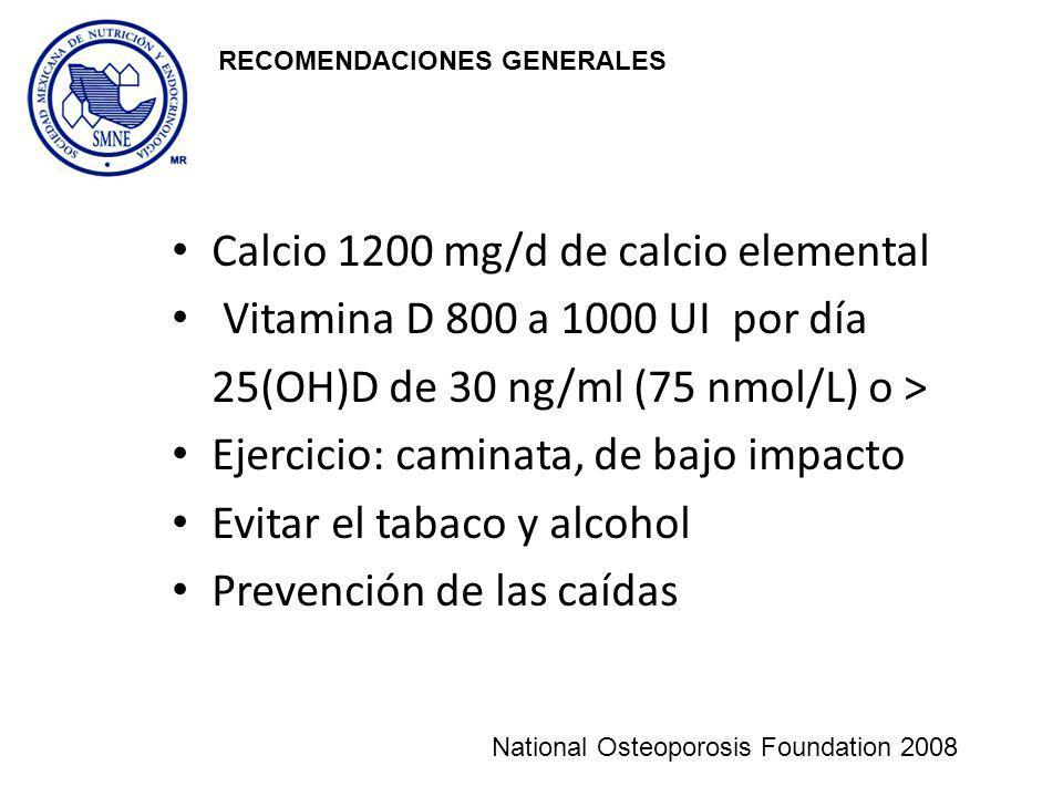 Calcio 1200 mg/d de calcio elemental Vitamina D 800 a 1000 UI por día 25(OH)D de 30 ng/ml (75 nmol/L) o > Ejercicio: caminata, de bajo impacto Evitar