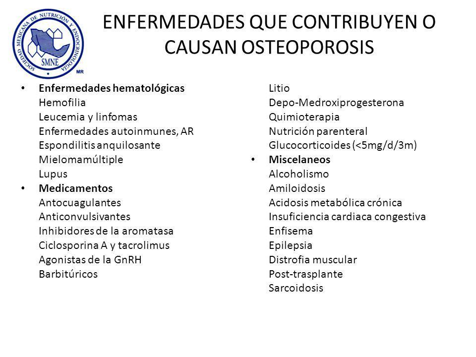 ENFERMEDADES QUE CONTRIBUYEN O CAUSAN OSTEOPOROSIS Enfermedades hematológicas Hemofilia Leucemia y linfomas Enfermedades autoinmunes, AR Espondilitis
