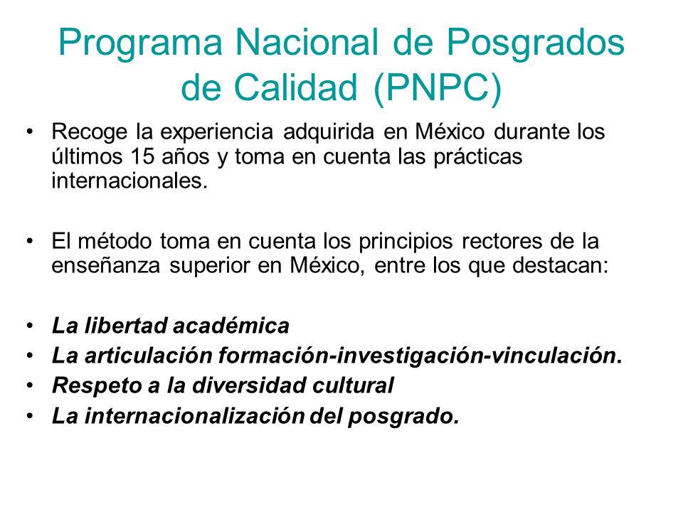 Programa Nacional de Posgrados de Calidad (PNPC) Recoge la experiencia adquirida en México durante los últimos 15 años y toma en cuenta las prácticas internacionales.