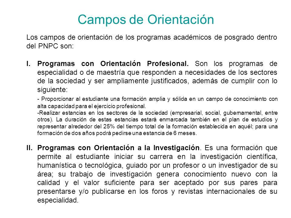 Campos de Orientación Los campos de orientación de los programas académicos de posgrado dentro del PNPC son: I.Programas con Orientación Profesional.