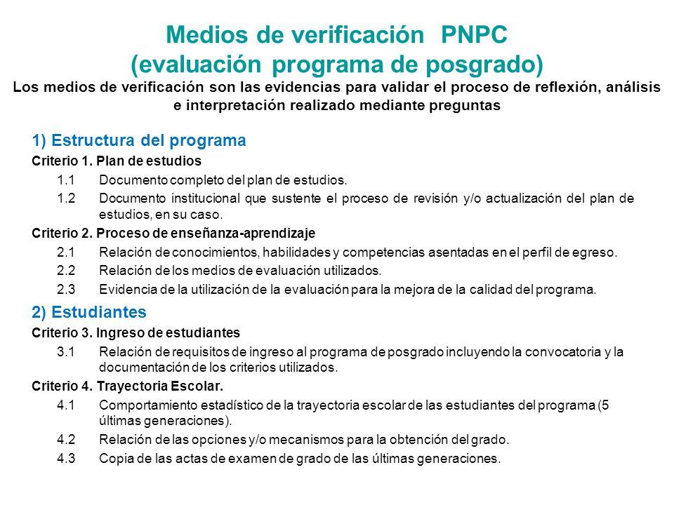 Medios de verificación PNPC (evaluación programa de posgrado) Los medios de verificación son las evidencias para validar el proceso de reflexión, análisis e interpretación realizado mediante preguntas 1) Estructura del programa Criterio 1.