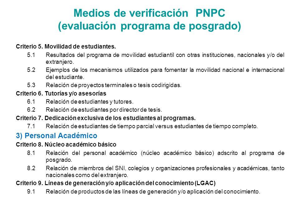 Criterio 5. Movilidad de estudiantes. 5.1Resultados del programa de movilidad estudiantil con otras instituciones, nacionales y/o del extranjero. 5.2E