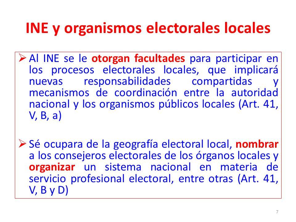 Los institutos electorales locales homologarán su número de consejeros a siete, todos nombrados directamente por el INE para un periodo de siete años sin reelección.