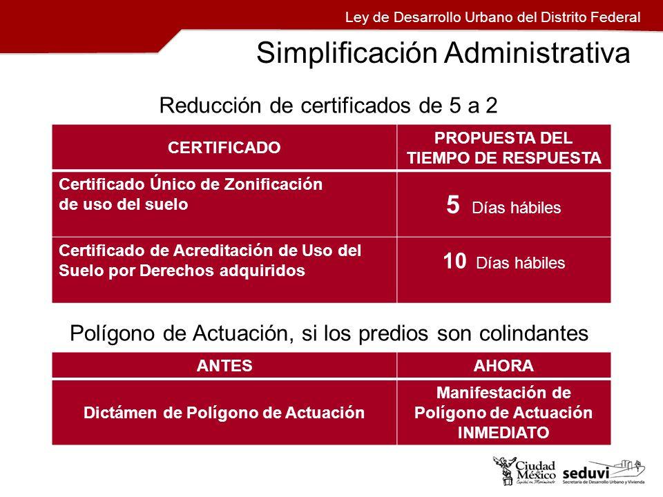 Ley de Desarrollo Urbano del Distrito Federal Simplificación Administrativa CERTIFICADO PROPUESTA DEL TIEMPO DE RESPUESTA Certificado Único de Zonific