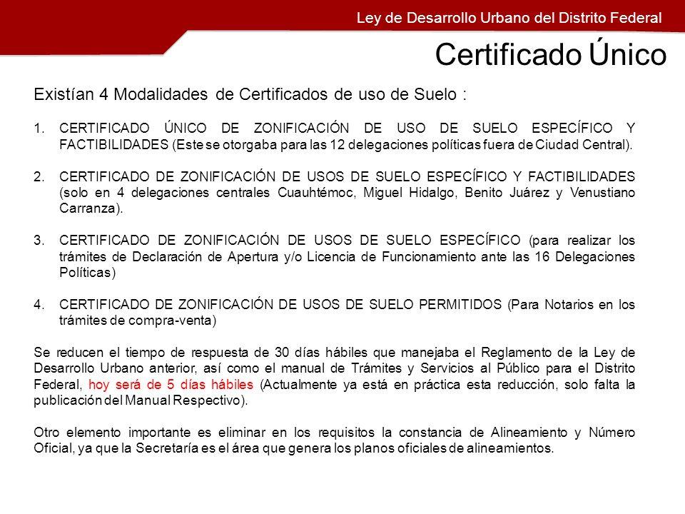 Existían 4 Modalidades de Certificados de uso de Suelo : 1.CERTIFICADO ÚNICO DE ZONIFICACIÓN DE USO DE SUELO ESPECÍFICO Y FACTIBILIDADES (Este se otor